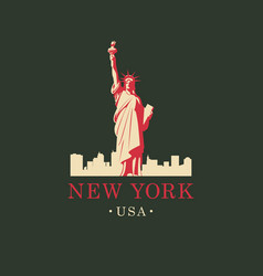 statue of liberty in backdrop of new york skyline vector image