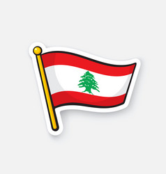 Sticker flag lebanon on flagstaff vector