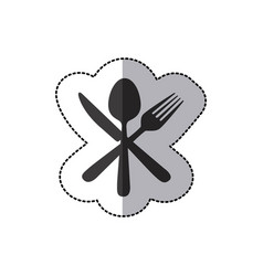 Sticker silhouette cutlery icon vector