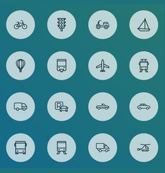 Transport icons line style set with chopper vector