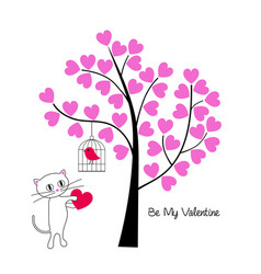 Valentines day cat and bird with tree vector