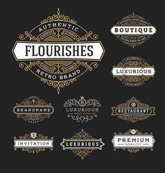 Vintage flourishes frame banner label vector