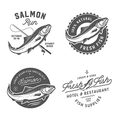 Vintage salmon emblems and logos vector image