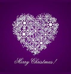 violet background with a heart from snowflakes vector image