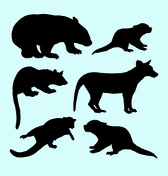 weasel and squirrel animal silhouette vector image