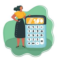 Woman hands with calculator vector