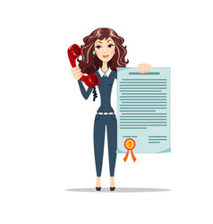 woman points to a certificate vector image