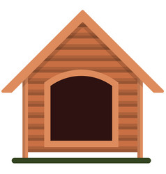 Wooden dog kennel isolated on white vector