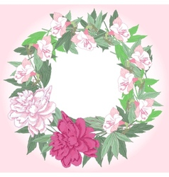 Wreath with pink peonies and flowers vector image