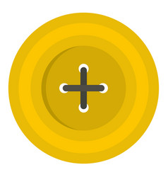 Yellow round sewing button icon isolated vector
