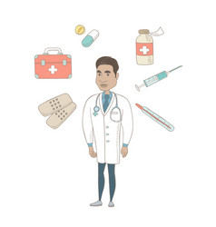 young hispanic confident doctor vector image