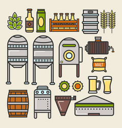 beer brewery factory production line elements vector image vector image