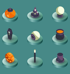 halloween color isometric icons vector image