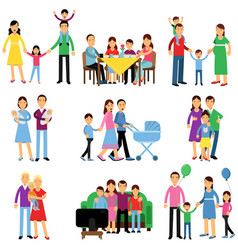 parents and their kids in different situations set vector image vector image