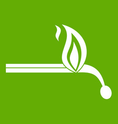 burning match icon green vector image vector image