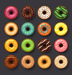 donut icon set vector image