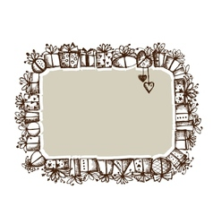 Gift boxes frame for your design vector image