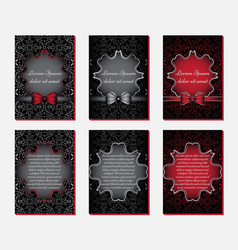 greeting cards in black and red colors vector image vector image