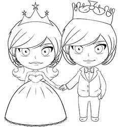 Prince and Princess Coloring Page 3 vector image