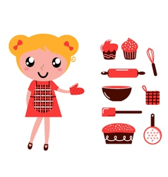 woman with cooking vector image vector image
