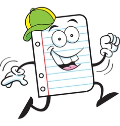 Cartoon Notebook Paper Running vector image