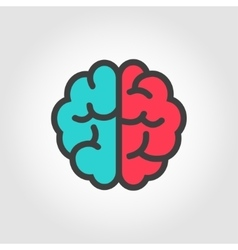 flat color line brain icon vector image vector image