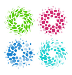 isolated abstract colorful round shape logos set vector image vector image