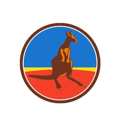 Kangaroo circle retro vector