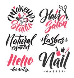 logo beauty lettering custom handmade calligraphy vector image