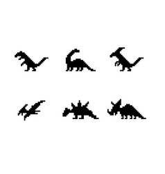 set of dinosaur icons in silhouette pixel style vector image