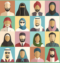 Set of muslim islamic people faces avatars vector