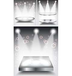 3d Empty white podium with light vector image