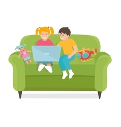 Children Use a laptop sitting on the couch vector image vector image