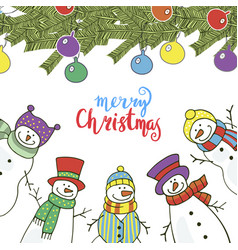 christmas card with funny snowmen vector image vector image