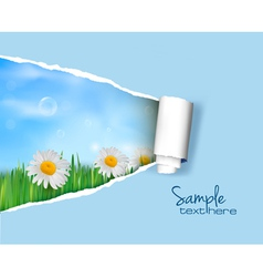 nature background with ripped paper vector image vector image
