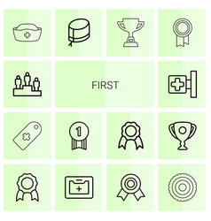 14 first icons vector