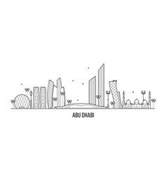 abu dhabi skyline united arab emirates uae vector image