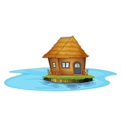 An island with a small house vector image