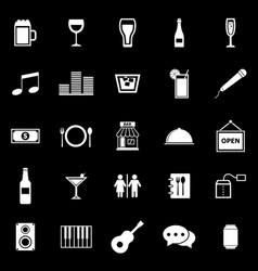 bar icons on black background vector image