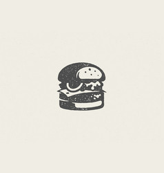 big burger silhouette as logo fast food service vector image