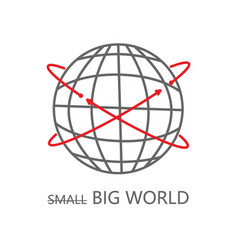 big world icon with arrows on white vector image