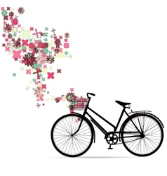 Bike with a basket in decorative flowers vector image