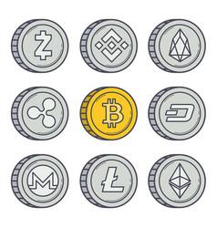 bitcoin outline coin vector image