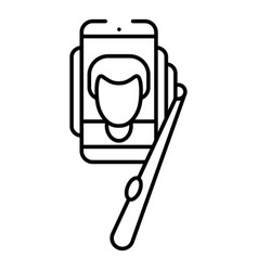 boy take selfie icon outline style vector image