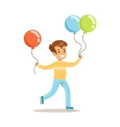Boy WIth Balloons Children In Costume Party vector