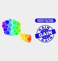 Bright mosaic tahiti island map and distress gain vector
