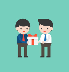 Businessman receiving a gift box from another vector