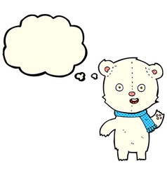 cartoon waving polar bear cub with scarf with vector image