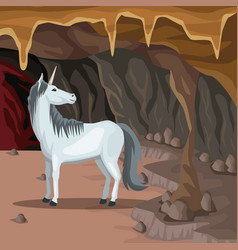 Cave interior background with unicorn greek vector
