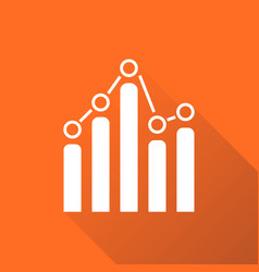 chart graph icon with long shadow business flat vector image